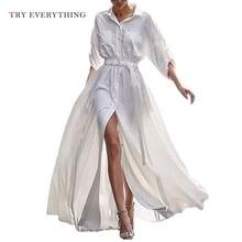 White Shirt Dress Women Long Sleeve Button Plus Size Summer 2019 Cotton Casual Tunic Ladies Dresses 3XL