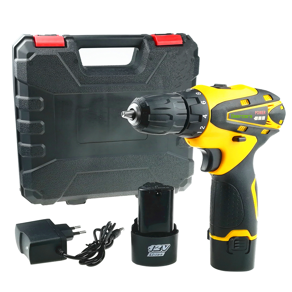 цена на 12 Volts Cordless Screwdriver Rechargeable Drill Household Mini Electric Drill Two Lithium Battery Power Tools Plastic Case