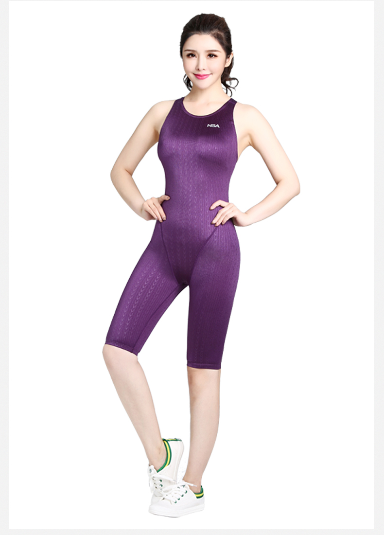 NSA Arena Swimsuit Women One Piece Swimsuit Knee Competition Swimsuit Racing Suit Bodybuilding Competition Sport Swimsuits(China)