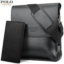 ccbe37be1985d VICUNA POLO Ünlü Marka Deri Erkek Çantası Rahat Iş Deri çanta seti Erkek  askılı çanta Vintage