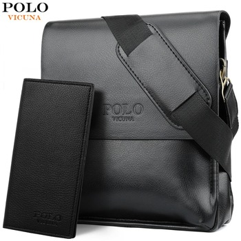 21008475b9e03 VIKUNJA POLO Berühmte Marke Leder Männer Tasche Casual Business Leder  Tasche Set Mann Umhängetasche Vintage Crossbody-tasche bolsas männlichen
