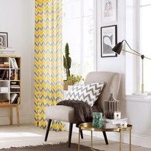 Творческий полу-затенения с геометрическим принтом из хлопка и льна дома Шторы для Спальня для Гостиная окна