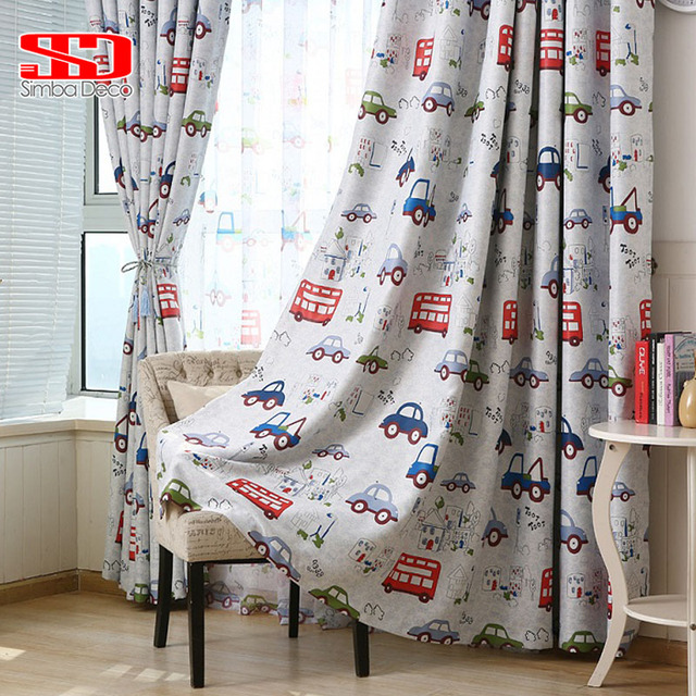 Delightful Cartoon Toy Cars Curtains For Kids Room Baby Bos Bedroom Printed Fabric  Tulle Sheer Curtain Voile