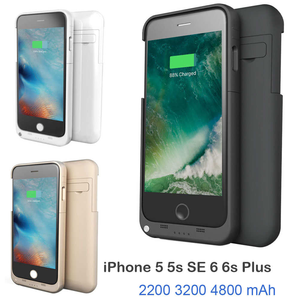 External Power bank pack backup battery Charger Case for iphon 5 5S SE 6 6s Plus With Tempered Glass Film USB cable line