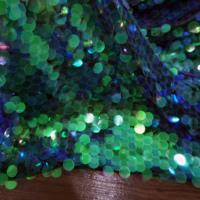 Pink, Green, Blue, Red, Black etc18mm Big sequines fabric 1 yard! 15 Colors in stock stage decoration shiny sequined mesh fabric