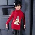 Дети девочек майка ребенка водолазка с длинным рукавом мультфильм шаблон флис толстый футболка малышей зима теплая одежда дети 3-13 Т