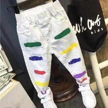 Детские рваные джинсы; Штаны для мальчиков и девочек; сезон весна-осень; Новинка; модные детские джинсы высокого качества; детская одежда