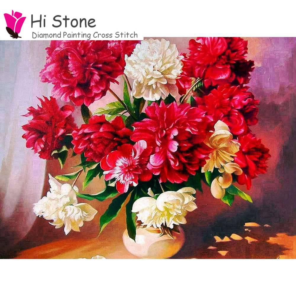 Алмаз живопись цветы красный пион вышивка 5D DIY Полный площадь Алмаз Вышивка крестом горный хрусталь мозаика живопись декора подарки