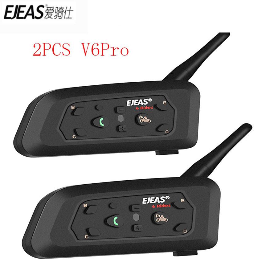 EJEAS 2PCS V6 Pro Bluetooth Motorcycle Communicator Helmet Intercom Moto Headset With Mic GPS 1200m Interphone For 6 Riders