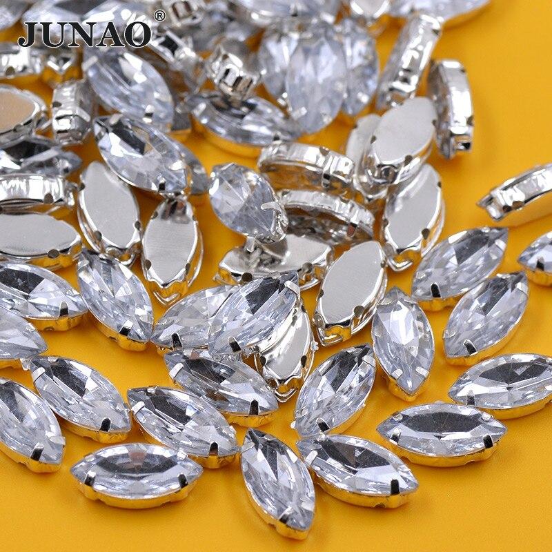 JUNAO 7x15mm 5x10mm Clear Crystal Sewing Rhinestones Flatback Acrylic Gems Sew On Silver Claw Crystal Applique for Clothes Craft