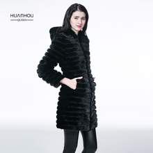 HUANHOU QUEEN real mink fur coat with hood ,good quality women's mink fur coat long style fashion slim and warm.