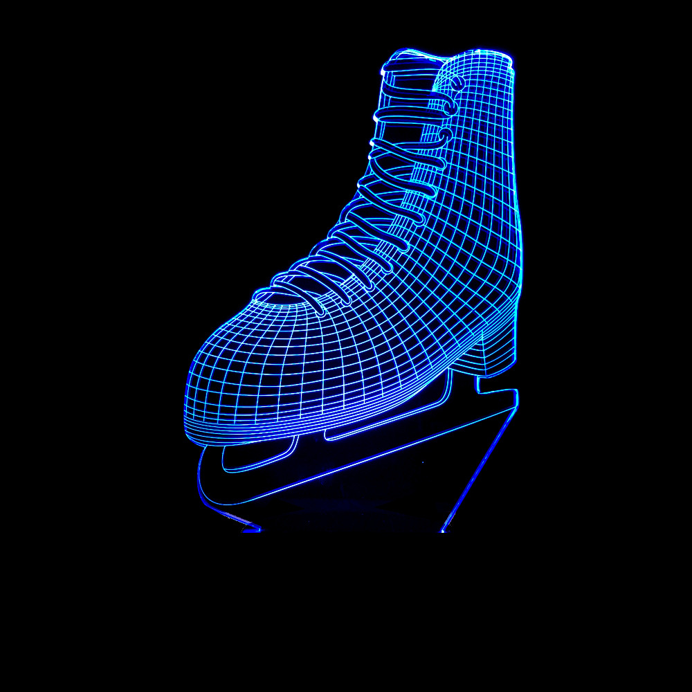 Cool Ice blade Shoes 3D LED Lamp Acrylic Remote 7 Colors Changing Ice skating Night Light Sporting Boy Room Decor Kids Toys Gift