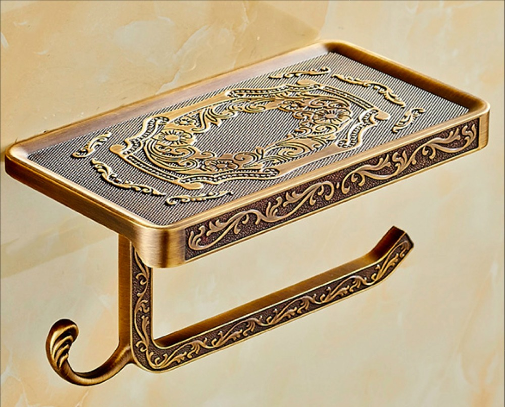 Vintage Style Brass Metal Wall Mounted Toilet Roll Paper Holder for Bathroom or Towel rack Tissue