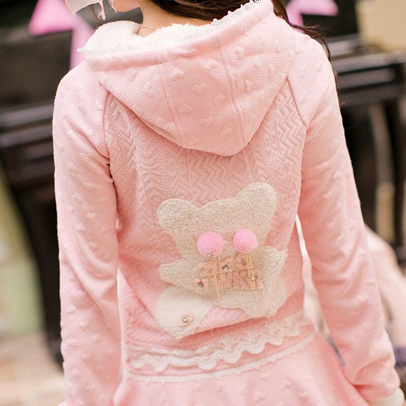 De Avec Laine Doux C16cd6180 Japonais Princesse skirt Coat Dentelle Ours Pompons Douce Pluie Veste Poche Stickers Bonbons Chapeau Rose Décoration Conception SvqExf