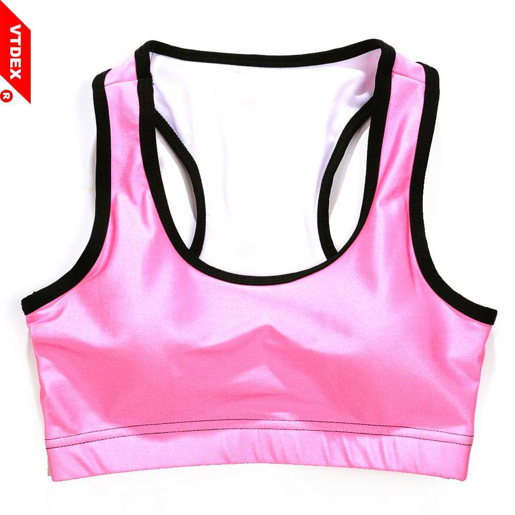 8731a55dc98fc ... VTDEX 2018 Sports Bra Cropped Pure Candy Pink Sujetadores GYM Women  Yoga Athletic Bustier Fitness Elastic ...