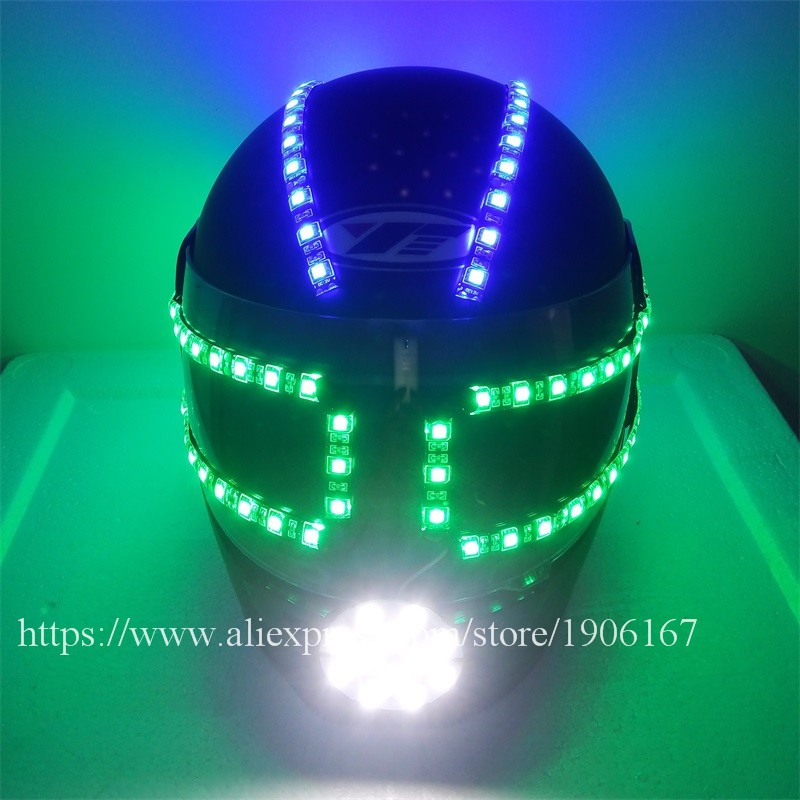 Colorful led luminous robot helmet06