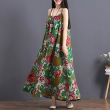 Casual Summer Dresses Floral Print Ethnic Dress Spaghetti Strap Folk Loose Long Dress Female Retro Vintage Dress TA1390(China)