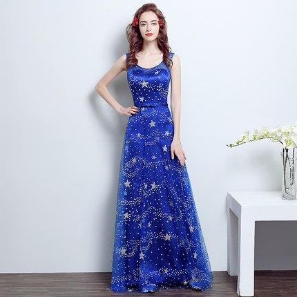 lange jurk blauw
