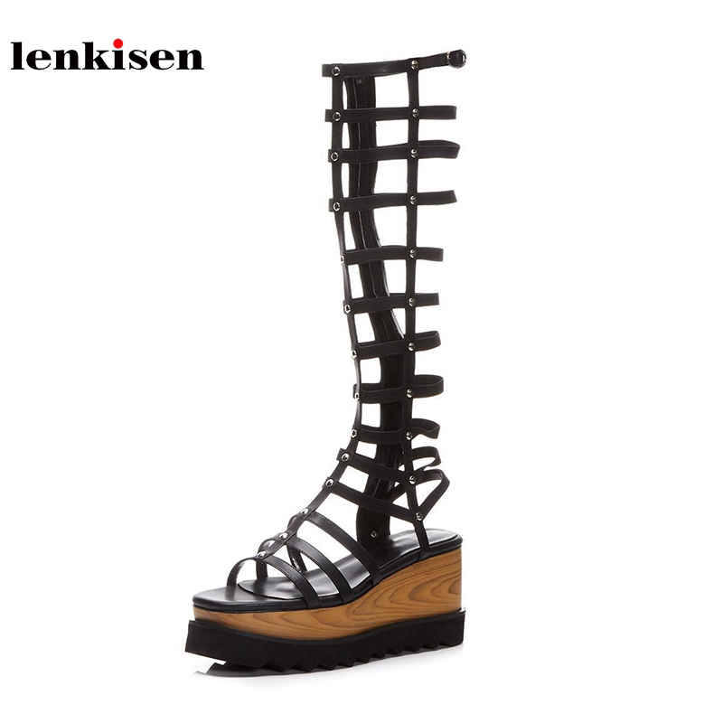 Lenkisen ankle zipper wedges super high heels show thin long legs peep toe gladiator women sandals platform summer shoes L28 lenkisen genuine leather big size wedges summer shoes gladiator super high heels straw platform sweet style women sandals l45