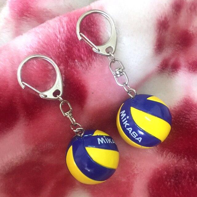 2 piezas deporte playa voleibol PVC llavero llaveros anillo Fútbol Playa bola llavero regalos hombres joyería llavero llaveros regalo