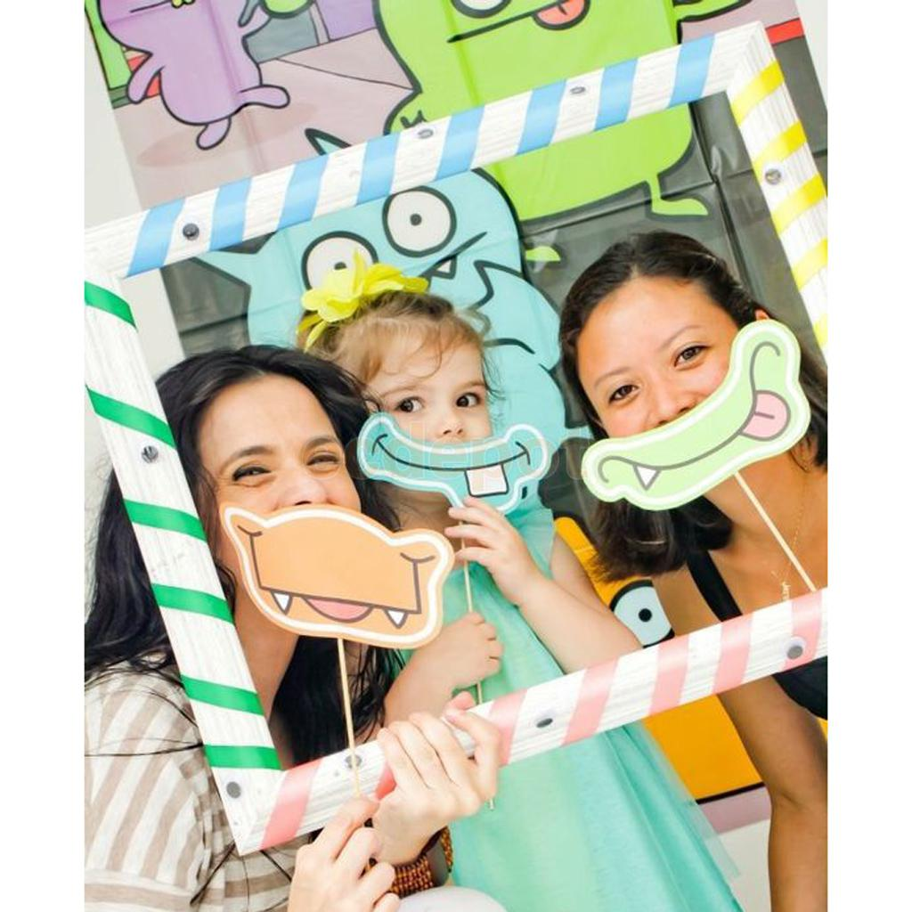 cartoon diy stripe selfie frame photo booth prop for kids birthday party in photobooth props. Black Bedroom Furniture Sets. Home Design Ideas