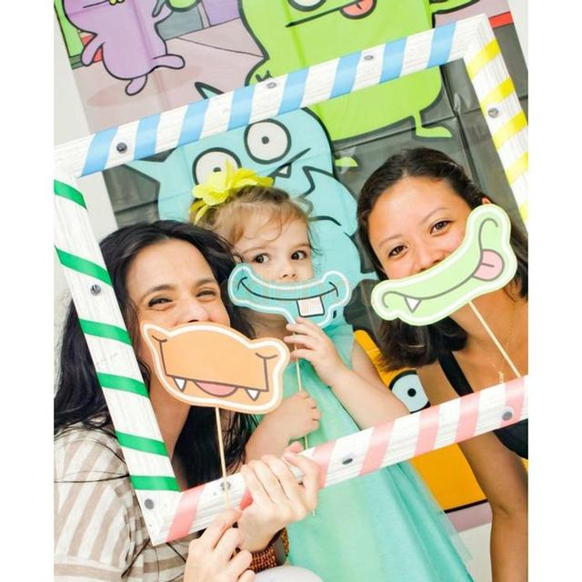 Cartoon Diy Stripe Selfie Frame Photo Booth Prop For Kids Birthday Party