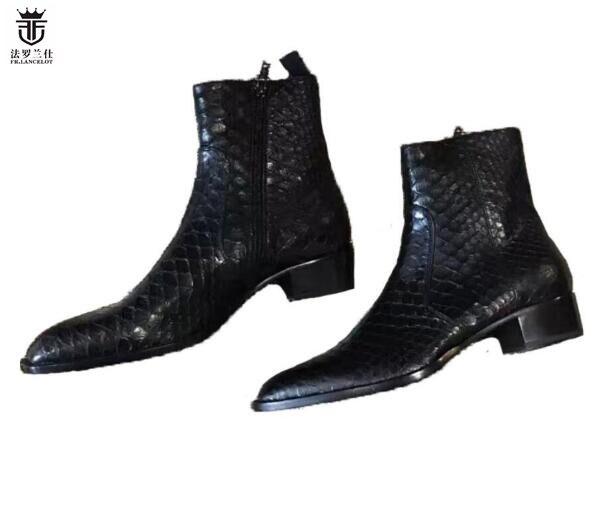 Jacaré Fr De Qualidade Dos As Ankle 2019 Sapatas Marca Showed Chelsea Cobra Homens Superior 1 Lancelot Botas Boots Lateral Zíper Couro ftqndz