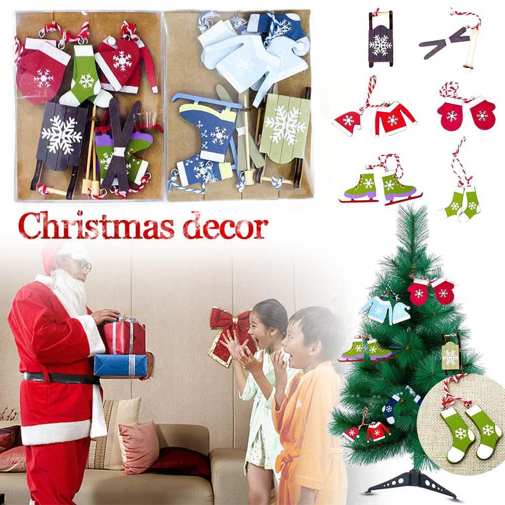 Hot Christmas Ski Suit Pendant Tree Wooden Painted Decorative Tag Decoration Small Card Packed In Box Drop Ornaments