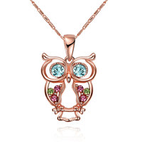 Rose Gold Plated Necklet Glass Crystal Owl Pendant Necklace Jewelry Accessories