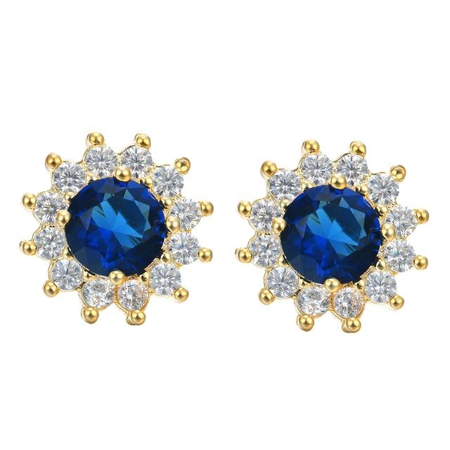 Blue Zircon Stud Earring Women Jewelry Round Aaaa Cz Zirconia Factory 2017 New Supplier Top