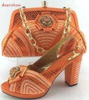 Doershow! sapatos africanos e sacos de harmonização definido para o partido, luxo itália bolsa e sapatos combinando na cor laranja para a festa! HJY1-34
