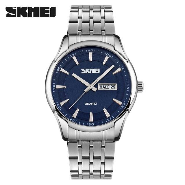 SKMEI 9125 Mens Quartz Wristwatch New Arrival Luxury Brand Relogio Masculino 30M Waterproof Stainless Steel Fashion Men Watches