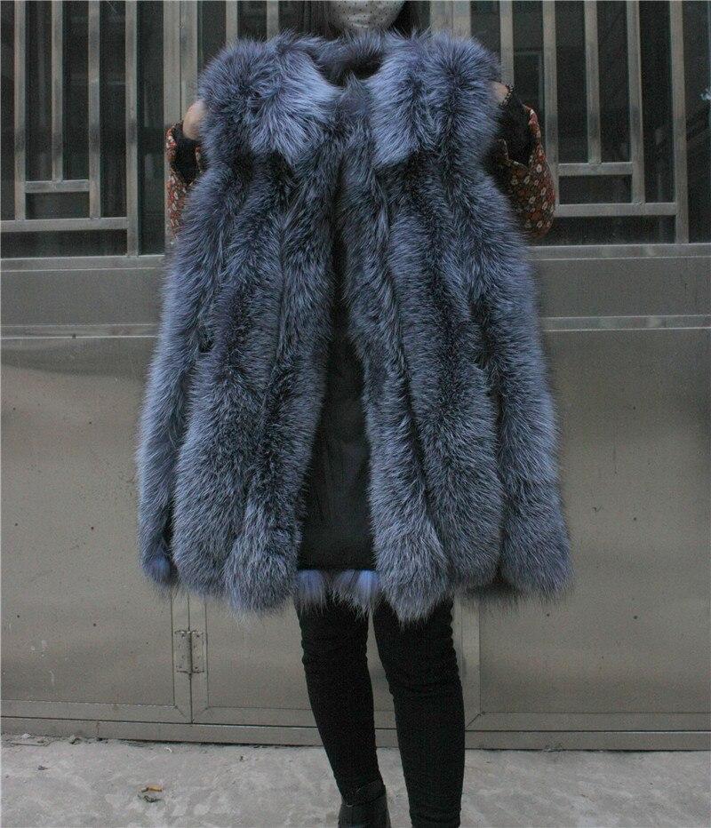 LIYAFUR Frauen 100% echte echte Full Pelt Silber Fuchspelz lange - Damenbekleidung - Foto 5