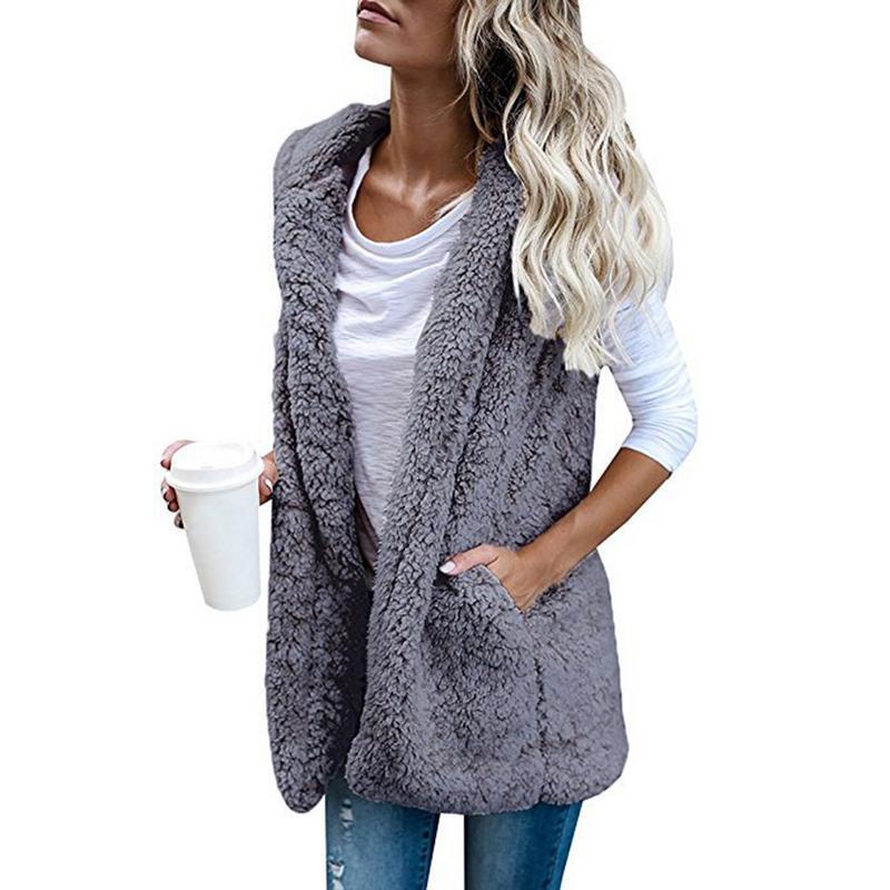 Women's Leisure Large Size Vest Fashion Sleeveless Hooded Pocket Faux Cashmere Vest Five Colors Vest