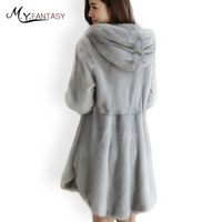 M.Y.FANSTY 2017 Winter Warm Hat Full Sleeve Mink Coat With Fur Hood Real Fur Coat Full Pelt Solid Draped Diamonds Mink Coats