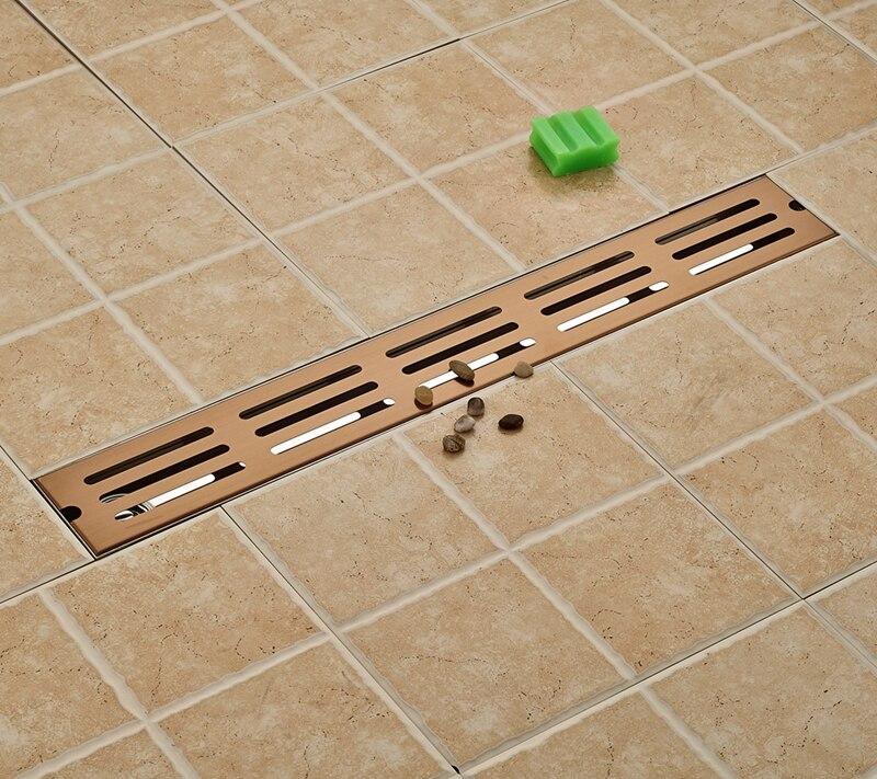 Rose Gold 70cm Bathroom Floor Drain Ground Leakage Shower Room Floor Filler New gold stainess steel 70cm bathroom shower floor drain floor mount ground leakage