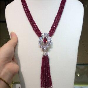 Image 3 - Лидер продаж, ожерелье с кисточкой из натурального фиолетового камня с микроинкрустацией из циркония, длинная цепочка для свитера, модные ювелирные украшения