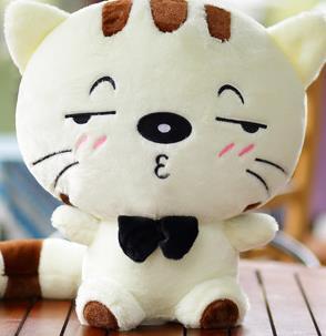 Produits de haute qualité en peluche douce mignon blanc ou jaune chat timide 60 cm jouet chat cadeau d'anniversaire de noël, d1055.4