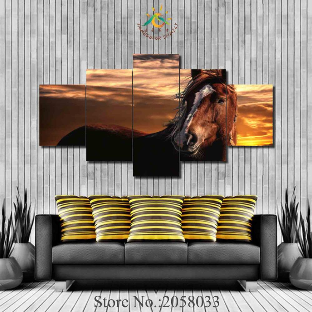 3-4-5 Pieces Sunset Horse Poster Wall Art Paintings Picture Paiting Canvas Paints Printed Wall HD Painting