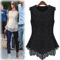 Women blouses new 2016  summer white black color irregular tops lace blouse plus size sleeveless shirt blusas women clothing