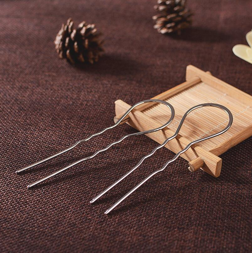 5pcs 3x10 5cm Metal U Shape Wavy Hair Fork Pin Hairpin Slide Bun Holder Stick Barette Cheveux Chignon Long Hair Accessories in Jewelry Findings Components from Jewelry Accessories