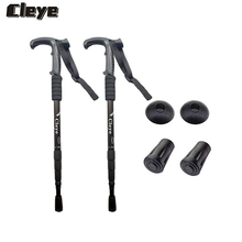 JOSHOCK Cleye Aluminum Alloy 2Pcs/lot Shock Absorber Climbing T Handle Trekking Pole Cane Outdoor Hiking with Mud Tray