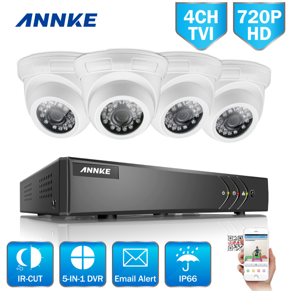 ANNKE  HD 4CH CCTV System Set 720P DVR 4PCS 1200TVL IR Outdoor Security Camera System 4 Channel Video Surveillance Kit hd 8ch cctv system 720p dvr 8pcs 720p 1200tvl ir outdoor video surveillance security camera system 8 channel dvr kit