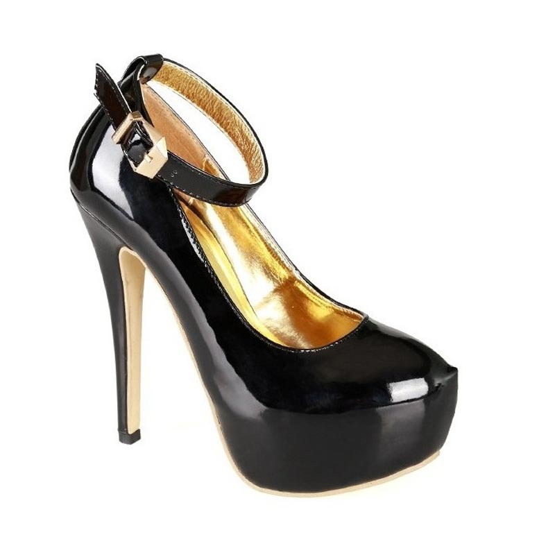ФОТО 2017 Size 34-45 Fashion Black Patent Leather Sexy High Heels Brand Women Pumps Ladies Platform Shoes Woman Chaussure Femme