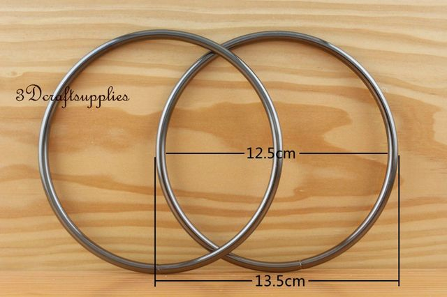 metal purse handle O rings Circle ring iron gunmetal 5 inch a pair ...