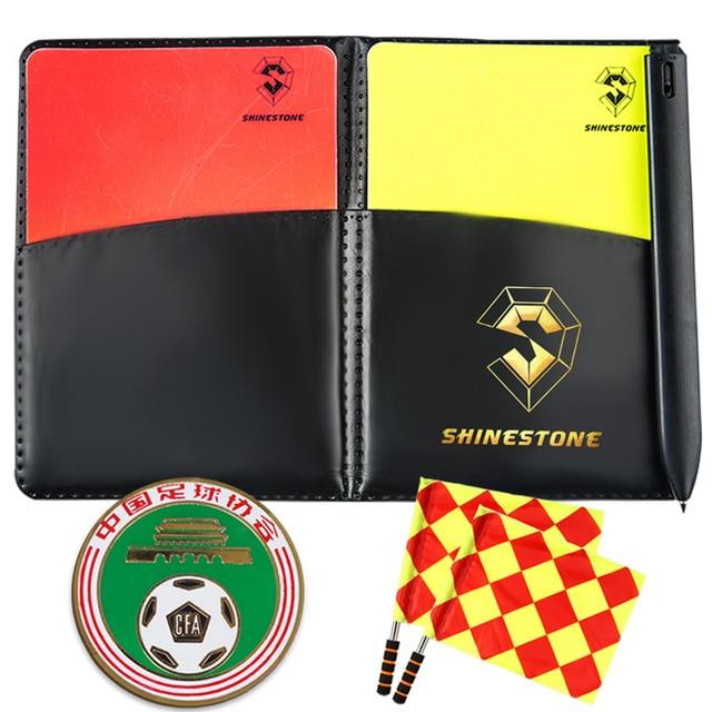 Tarjetas amarillas Rojas Funda de cuero para cuaderno de fútbol Linesman banderas de árbitro buscador de bordes