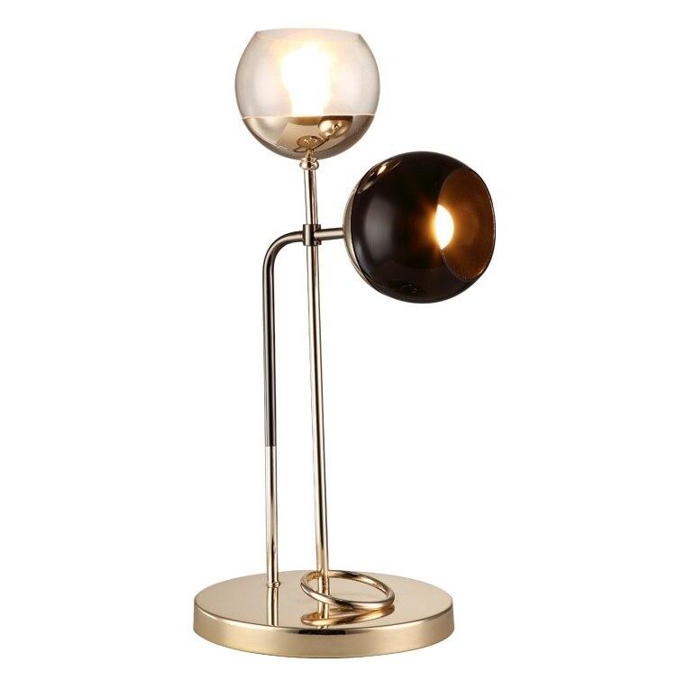 Lampe de bureau à deux têtes avec abat-jour en verre hauteur 58 cm, en fer avec Base en métal 28 cm