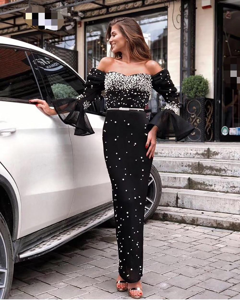 c740f5281d91 Elegante Della Del Celebrità Spalla Vestiti Club Nero Aderente Largo Modo  Lunghi Vestito Sexy Il Sera ...