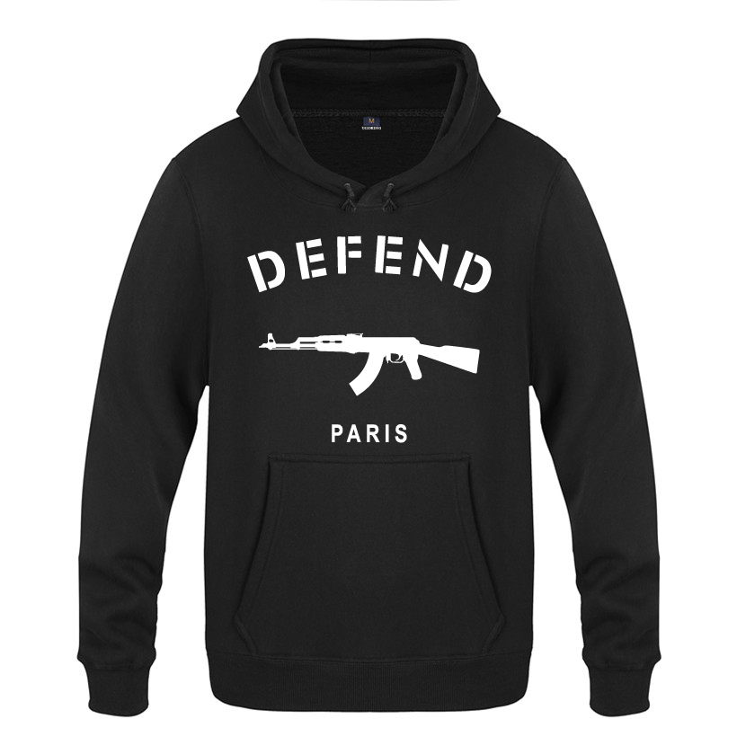 PARIS AK47 Personality Novelty Sweatshirts Men 2018 Mens Hooded Fleece Pullover Hoodies