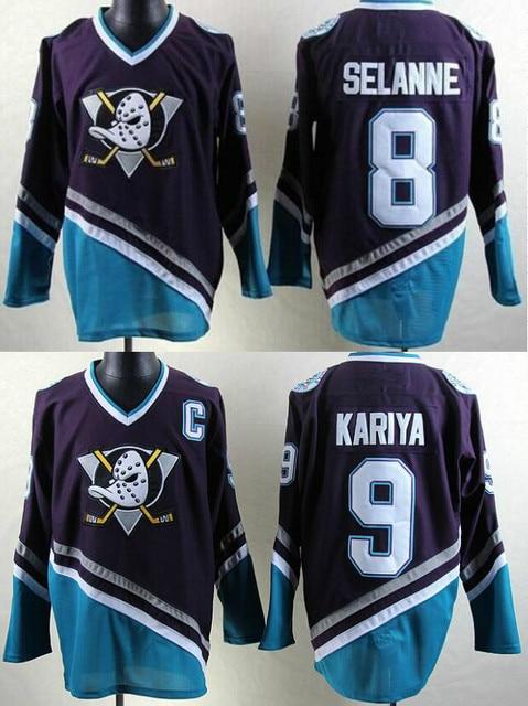 640998259 ... Throwback Mighty Ducks Of Anaheim Hockey Jersey Mighty Ducks Movie  Jerseys 8 SELANNE 9 Paul Kariya Stitched Jerseys Winter ...